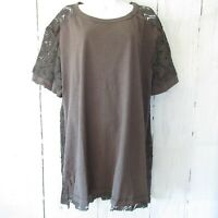 New Umgee Tunic Top S Small Charcoal Gray Crochet Lace Short Sleeve Oversized
