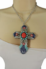 New Women Silver Metal Chains Big Cross Pendant Charm Fashion Necklace Jewelry