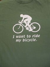 L green I WANT TO RIDE MY BICYCLE t-shirt by GILDAN