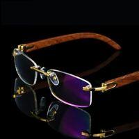 2019 New Wooden Frame Glasses Men Rimless Eyeglasses Eyecare Genuine Wooden Gold