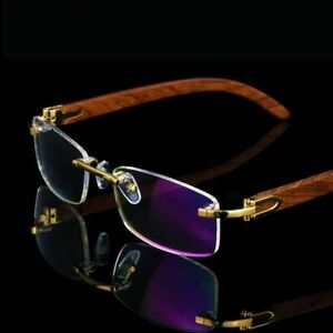 2019 New Wooden Frame Glasses Men Rimless Eyeglasses Eyecare Genuine Wooden Gold