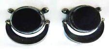 ANTONIO PINEDA 970 Silver+Onyx Door Knocker EARRINGS~Best Vintage Taxco Sterling