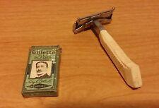 Vintage Gem White Safety Razor and Gillette Blue Blades