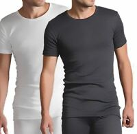 Mens Thermal Vest White or Charcoal Short Sleeve Warm Underwear, Small to XXL