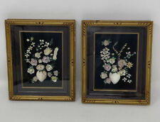 Vintage PAIR Of MCM Art Framed FLORAL PICTURES Made From SHELLS Seashells