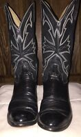 Custom Black Exotic Lizard Leather Western Cowboy Boots Women Size 7 1/2 D