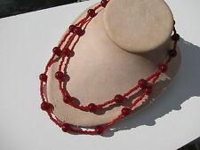 VINTAGE VIBRANT RUBY RED TRANSPARENT TRANSLUCENT GLASS BEADS TORSADE NECKLACE