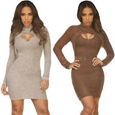 Polyester Cowl Neck Shirt Dresses