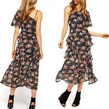 DOTTI Sierra Asymmetrical Slip Dress Black Floral Polyester Size 12 Tags