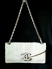 CHANEL Ivory Authentic Snakeskin Small Evening Bag with Silver Hardware NWOT
