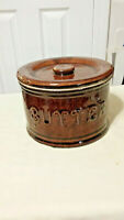 Antique Brown Glazed Stoneware Butter Crock with Lid
