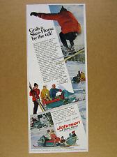 1967 Johnson SKEE-HORSE Snowmobiles pulling skier sled photos vintage print Ad