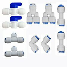 """1/4"""" OD Quick Connect Push In to Water Tube Fitting Ball Valve+Y+T+I+L Type Comb"""