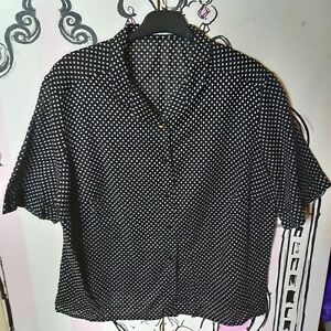 Size 16 Black White Floral Print Sem Sheer 100% Cotton Blouse Short Sleeve Shirt