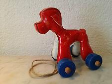 Hund auf Rädern Nachziehtier Pudel Wachstuch Handarbeit Kunstgewerbe DDR
