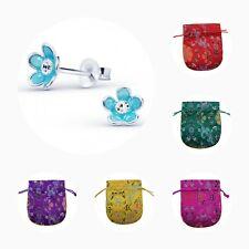 Childrens Girls 925 Sterling Silver Blue Flower Crystal Stud Earrings - Pouch