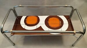 Vintage MCM Adri Belgium Abstract Tiled Coffee Table with Chrome Frame 1960s