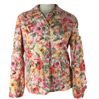 Coldwater Creek women's jacket blazer size 10 pink floral cotton