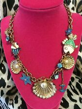 Betsey Johnson Vintage Under The Sea Nautical Shell Clam Fish Anchor Necklace