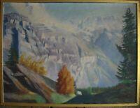 :: KARL KUGLER FELSEN GEBIRGE WALD TANNEN GLETSCHER ALPEN ° ANTIK ÖLGEMÄLDE 1945