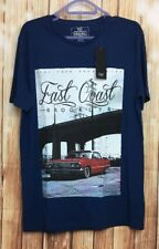 Brand New Men's Clothing F&F Blue East Coast Short Sleeves T-shirt Small