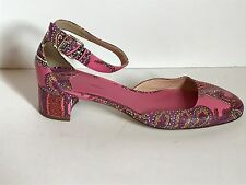 JCrew Paisley Printed Leather Heels 7 F4865 Pink Multi Ankle Strap
