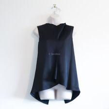 100% authentic CELINE satin silk sleeveless top black back split draped drape 34