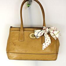 Authentic Coach Camel Brown Leather Tote Shopper Shoulder bag Purse w/ Scarf