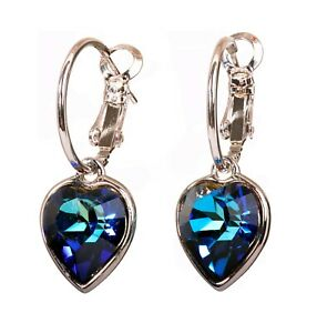 Crystals From Swarovski Heart Drop Earrings Bermuda Blue Rhodium Authentic 7343a