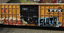 Custom Train Checkbook Covers:  # 13a Graffiti Art/Husky Stack Train Cars NEW