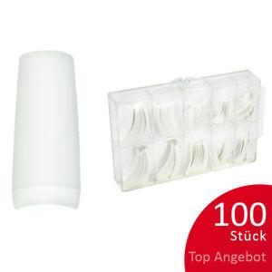 100St. Tipbox FRENCH Tipkasten Nageltips künstliche Nägel weiß C-Kurve NAILS