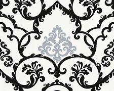 Vliestapete Barock silber schwarz weiß Tapete livingwalls Flock 4 95538-3 955383