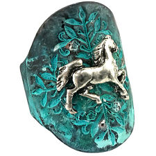 Western Cowgirl Vintage Hammered Stretch Ring Horse Gypsy Patina Copper Silver