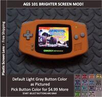 Nintendo Game Boy Advance  System AGS101 Backlit Mod-Plastic Screen - ORANGE
