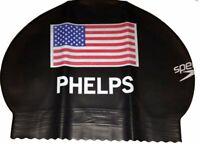 Speedo USA Flag Limited Edition Olympics Latex Swim Cap (Black) - Michael Phelps