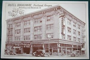 Hotel Broadway at Burnside Street Portland Oregon antique postcard