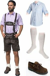 5-teiliges Trachtenset dunkelbraun * kurz C Trachtenlederhose Schuhe,Hemd,Socken