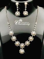 925 Silver Tear Drop Pearl Necklace & Stud Earrings Wedding Party Jewelle Set