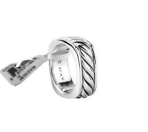 DAVID YURMAN ST.SILVER NARROW SCULPTURED CABLE SQUARE BAND RING NEW BOX POUCH
