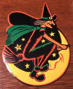 Vintage Beistle Halloween Die Cut Witch Flying On Broomstick & Moon Decoration