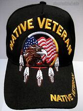 NATIVE AMERICAN VETERAN Cap/Hat w/Eagle Flag Black Military Free shipping