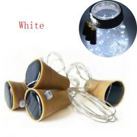 10 LED Solar Wine Bottle Cork String Light Night Fairy Party Light Lamp White FN