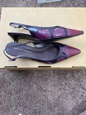 Antonio Melani Sling Back Pumps Burgundy Pointed Toe Mule Leather Kitten Heel 9