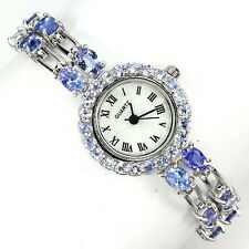 Sterling Silver 925 Two Row Genuine Natural Tanzanite Gemstone Watch 7 Inch