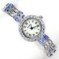 Sterling Silver 925 Two Row Genuine Natural Tanzanite Gemstone Watch 7 Inch