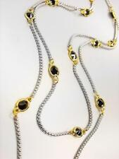 """GORGEOUS Silver Box Cable Chain Black Onyx CZ Crystals 48"""" Extra Long Necklace"""
