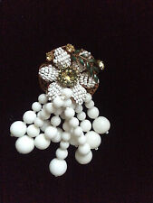 Signed AMOURELLE Frank Hess Haskell Baroque Pearl Art Glass Flower Pin Brooch