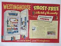 Original Print Ad 1951 Vintage WESTINGHOUSE Refrigerator Frost-Free 2 Page