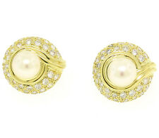 QUALITY 18k Solid Gold Pearl & Diamond 1.25ctw VS E Round Button Omega Earrings