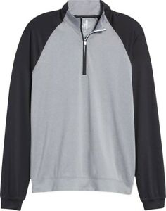 Johnnie-O Rolf Men's sz L Meteor black grey 1/4 ZIp Golf Pullover $98 MSRP NWT
